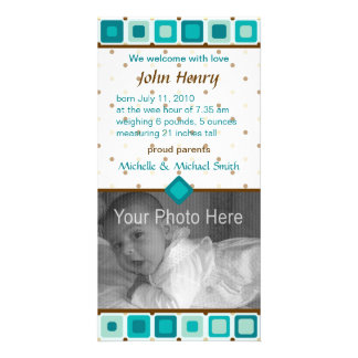 Rounded Squares Birth Announcement - Boy Customized Photo Card