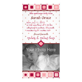 Rounded Squares Birth Announcement - Girl