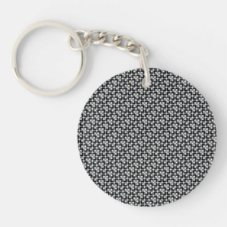 Rounded Squares Retro Black & White Pattern Keychain