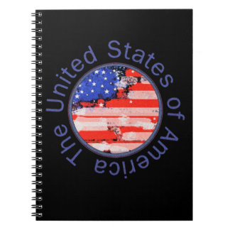 rounded USA flag Note Books