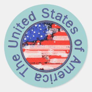 rounded USA flag Sticker