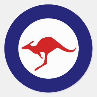 Roundel militar de la aviación del canguro de pegatina redonda