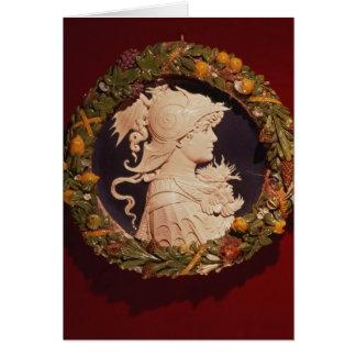 Roundel que lleva un retrato del perfil tarjeta de felicitación