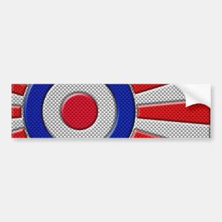 Roundel Sunburst Design Carbon Fiber Style Decor Bumper Sticker