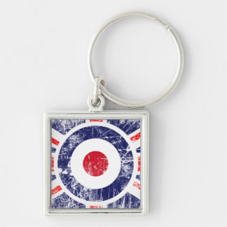 Roundel Target Mods UK Target Union Jack Silver-Colored Square Keychain