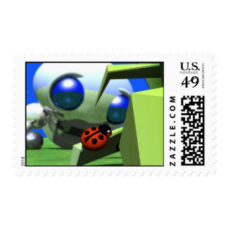 ROUNDER LOOKING AT LADYBUG STAMPS