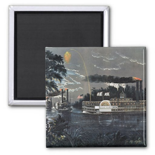Rounding a Bend on the Mississippi Steamboat 2 Inch Square Magnet