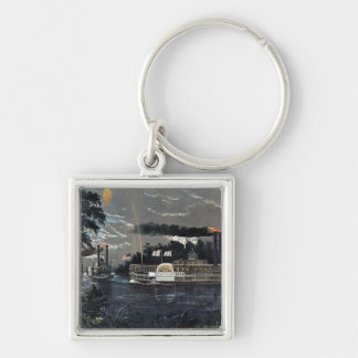 Rounding a Bend on the Mississippi Steamboat Keychain