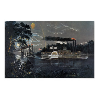 Rounding a Bend on the Mississippi Steamboat Print