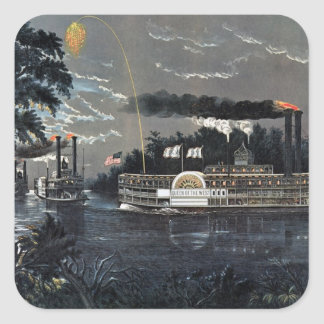 Rounding a Bend on the Mississippi Steamboat Square Sticker