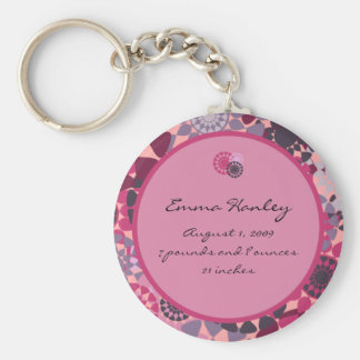 Rounds Birth Announcement Keychain