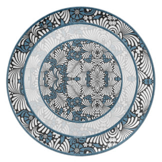 Rounds of Blue and White Fern Print Dinner Plate