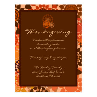 Rounds Thanksgiving Invitation Postcard