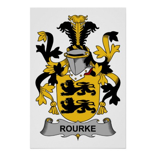 Rourke family crest poster zazzle for Personalized last name university shirts
