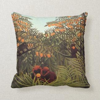 Rousseau - Apes in the Orange Grove Throw Pillows