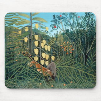 Rousseau - Battling Tiger and Buffalo Mouse Pad