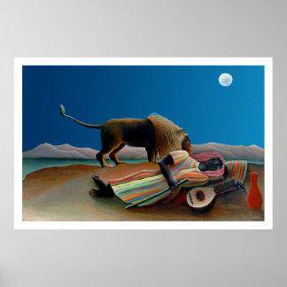 Rousseau - el gitano durmiente - obra clásica del  póster