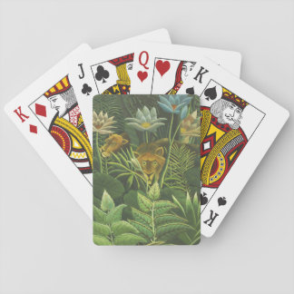 Rousseau Jungle Tropical Lion Art Print Foliage Playing Cards
