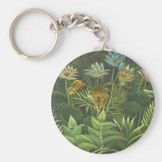 Rousseau Jungle Tropical Lion Art Print Painting Keychain