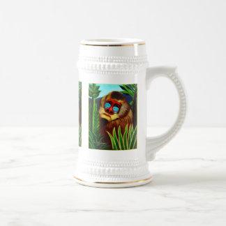 Rousseau - mandril en la selva (adaptación) jarra de cerveza