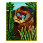 Rousseau - mandril en la selva (adaptación) posters