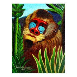 Rousseau - mandril en la selva (adaptación) postales