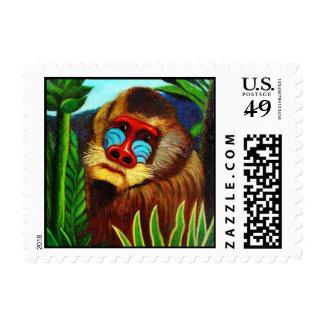 Rousseau - mandril en la selva (adaptación) sellos