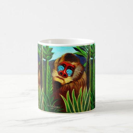 Rousseau - mandril en la selva (adaptación) taza