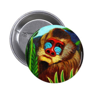 Rousseau - Mandril in the Jungle (Adaptation) 2 Inch Round Button