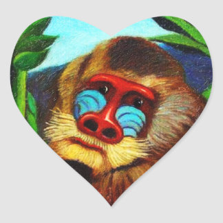 Rousseau - Mandril in the Jungle (Adaptation) Heart Sticker