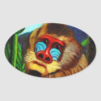 Rousseau - Mandril in the Jungle (Adaptation) Oval Sticker