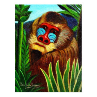 Rousseau - Mandril in the Jungle (Adaptation) Postcard