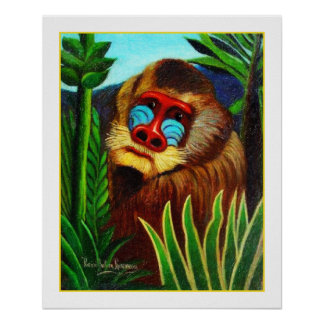 Rousseau - Mandril in the Jungle (Adaptation) Poster