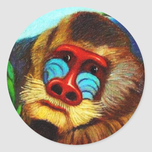 Rousseau - Mandril in the Jungle (Adaptation) Round Sticker