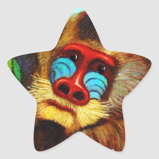 Rousseau - Mandril in the Jungle (Adaptation) Star Sticker