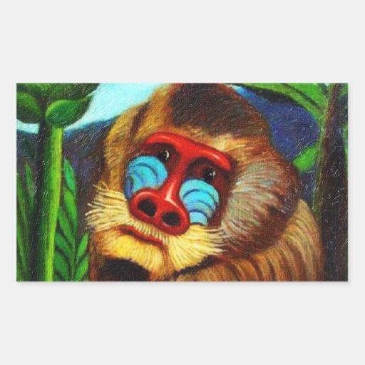 Rousseau - Mandril in the Jungle (Adaptation) Rectangular Sticker