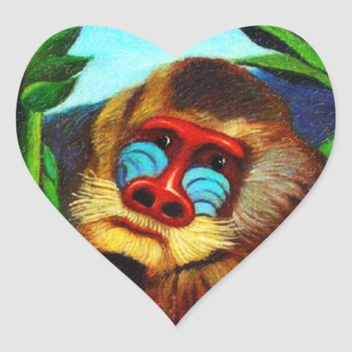 Rousseau - Mandril in the Jungle (Adaptation) Heart Stickers