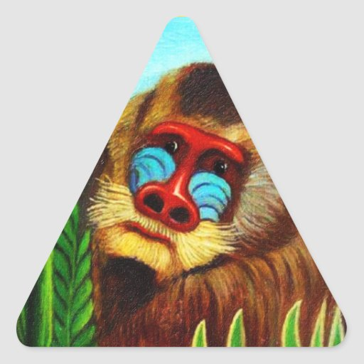 Rousseau - Mandril in the Jungle (Adaptation) Triangle Sticker