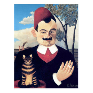 Rousseau - Portrait of Pierre Loti Man with Cat Postcard