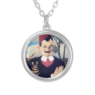 Rousseau - Portrait of Pierre Loti Man with Cat Silver Plated Necklace