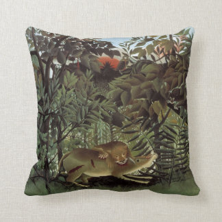Rousseau's Hungry Lion throw pillow