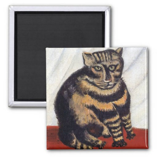 Rousseau - The Tiger Cat 2 Inch Square Magnet