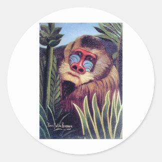 """Rousseau's """"Mandrill in the Jungle"""" (circa 1909) Classic Round Sticker"""