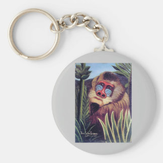 """Rousseau's """"Mandrill in the Jungle"""" (circa 1909) Basic Round Button Keychain"""