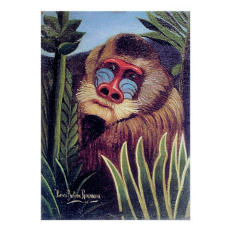 """Rousseau's """"Mandrill in the Jungle"""" (circa 1909) Poster"""