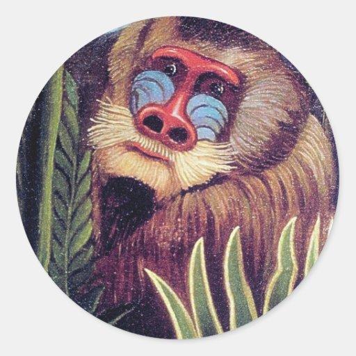 """Rousseau's """"Mandrill in the Jungle"""" (circa 1909) Sticker"""