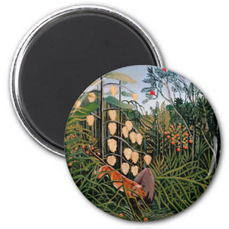 Rousseau's Struggle between Tiger and Bull (1909) 2 Inch Round Magnet