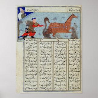 Roustem que captura su caballo, del 'Shahnama Impresiones