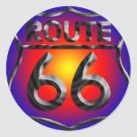 Route66Metal Pegatinas Redondas