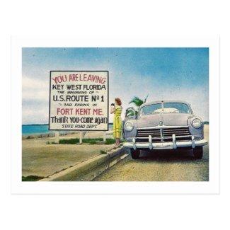Route 1, Key West, Florida Retro Vintage Postcard
